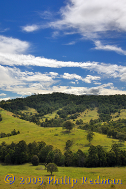 Hilly region around Dungog, New South Wales.
